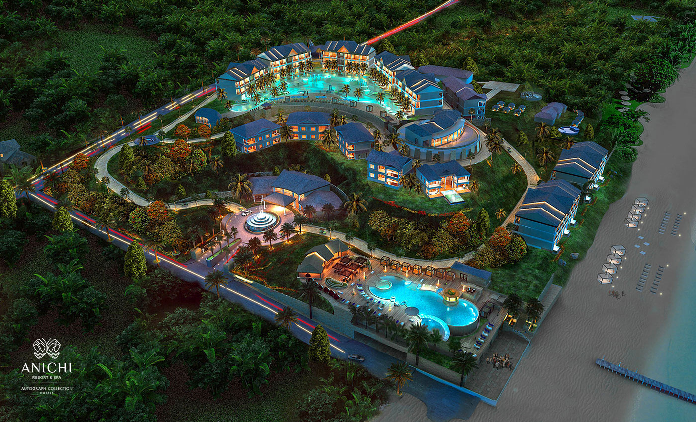 Aerial View at the Evening - Resort rendering of the Anichi Resort & Spa