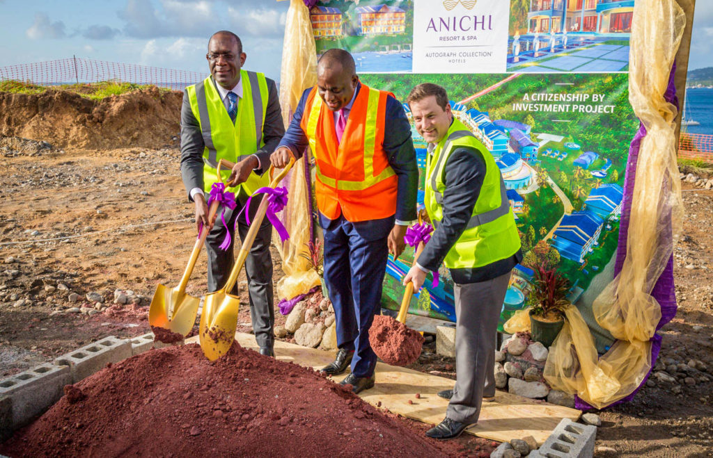 L to R: Dr. Michael Lawrence, Director of Anichi Development; Hon. Roosevelt Skerrit, Prime Minister of Dominica; Mr. Brock Hochhalter, Area Director of Operations for the Caribbean and LatinAmerica, Marriot International