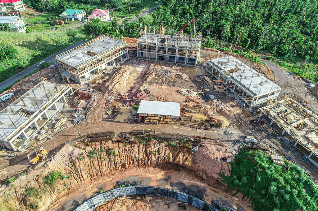 Seven-Month Construction Review: Aerial view of construction at Anichi Resort & Spa