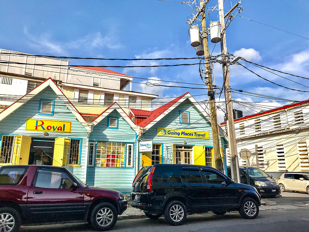 Overhead utility lines pictured outside Going Places Travel Service in Roseau, Dominica