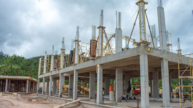 Columns on first floor slabs at building 8, Anichi Resort & Spa, are prepared for concrete