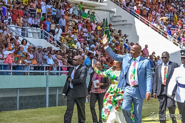 - Prime Minister Hon. Roosevelt Skerrit salutes the people at the 39th independence celebrations on November 3, 2017