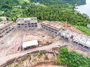 Anichi Resort Construction Update: Aerial View to the South with Buildings at the Right - October 17, 2018