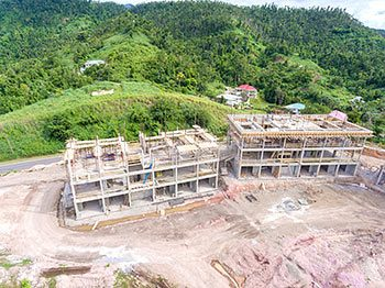 Anichi Resort Construction Update: Aerial View to the East - Close Up Buildings View at the Left. October 17, 2018