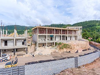 Anichi Resort Construction Update: Part of the Retaining Wall and Buildings at the West - October 17, 2018