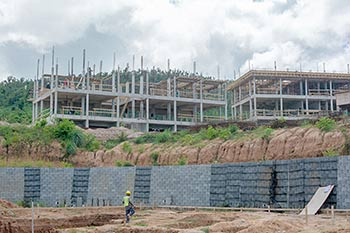Anichi Resort Construction Update: South View to the Retaining Wall and Upper Buildings - October 17, 2018