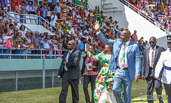 Prime Minister Hon. Roosevelt Skerrit salutes the people at the 39th independence celebrations on November 3, 2017