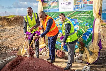 Dr. Michael Lawrence, Director of Oriental Developers (Caribbean) Ltd., Hon. Roosevelt Skerrit, PM of Dominica, and Brock Hochhalter, Area Director of Operations for the Caribbean and Latin America at Marriott International