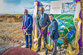 Hon. Roosevelt Skerrit, PM of Dominica, Dr. Michael Lawrence, Director of Oriental Developers (Caribbean) Ltd. and Brock Hochhalter, Area Director of Operations for the Caribbean and Latin America at Marriott international prepare to turn the earth
