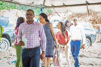 Members of Dominica's Telecom sector arrive at the groundbreaking ceremony