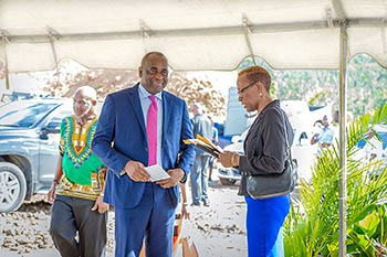 PM Hon. Roosevelt Skerrit arrives at the groundbreaking ceremony