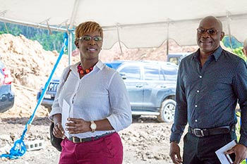 Senior Investment Promotion Officer at IDA Dominica, Hermina Augustine shows up for the groundbreaking ceremony
