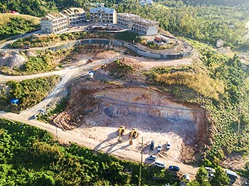 February 17, 2019 Anichi Resort Construction Site: Aerial View of Earth Excavation