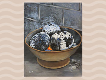 Dominica Arts and Crafts Exhibition on May 10, 2019: Roasted Breadfruit by Keard George