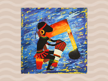 Dominica Arts and Crafts Exhibition on May 10, 2019: Tribal Tune by Keard George