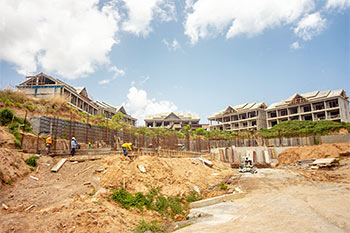 Dominica Resort Construction Update on June 4th, 2019: Overall View to the Buildings from North