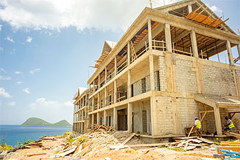 Dominica Resort Construction Update on June 4th, 2019: Buildings 7 and 6 from South