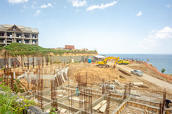 Dominica Resort Construction Update on June 4th, 2019: View to the Footings for Buildings 1, 2 and 3