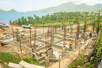Dominica Resort Construction Update on June 4th, 2019: North View to the footings for buildings 1