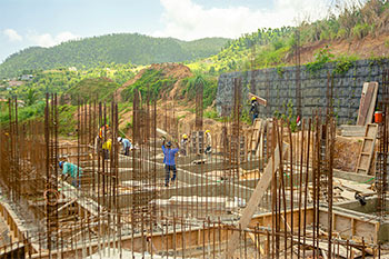 Dominica Resort Construction Update on June 4th, 2019: Construction Work at the Footings for Buildings 1
