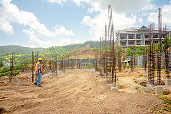 Dominica Resort Construction Update on June 4th, 2019: View to the Footings for Buildings 1 and 2