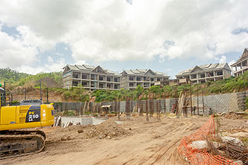 Dominica Resort Construction Update on June 4th, 2019: View to the Buildings 8, 9, 10