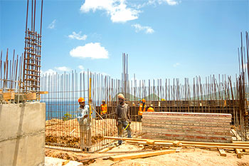 Dominica Resort Construction Update on June 4th, 2019: Footings for Building 3 and Construction Workers