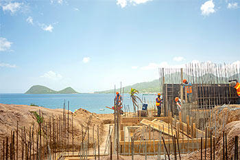 Dominica Resort Construction Update on June 4th, 2019: Footings for Building 3 and Caribbean Sea View