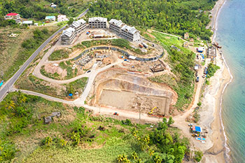 Dominica Resort Construction Update on June 5th, 2019: Aerial View to the South