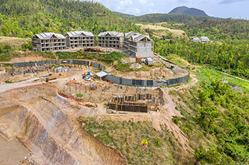 Dominica Resort Construction Update on June 5th, 2019: Overall View of Footings for Buildings 1, 2 and 3