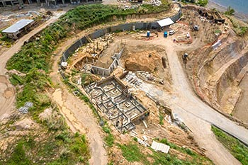 Dominica Resort Construction Update on June 5th, 2019: Footings for Buildings 1, 2 and 3