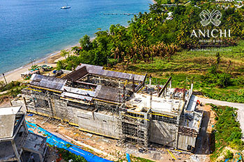 July 03, 2020 Construction Update: Building D with view to the Caribbean Sea