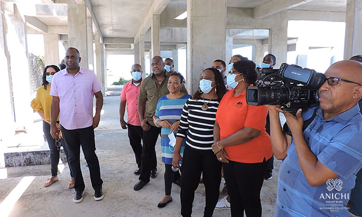 Prime Minister of Dominica, Hon. Dr. Roosevelt Skerrit, and members of Cabinet tour Anichi Resort & Spa construction site