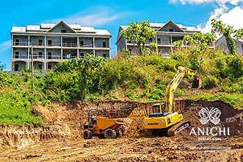 January 2021 Construction Update of Anichi Resort & Spa: Excavator at the Block A