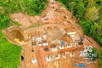 February 2021 Construction Update of Anichi Resort & Spa: Aerial View of Block A
