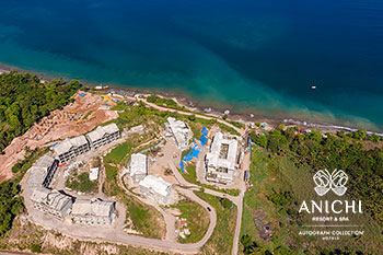 March 2021 Construction Update of Anichi Resort & Spa: Aerial View to the Caribbean Sea