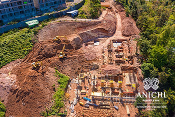 March 2021 Construction Update of Anichi Resort & Spa: Aerial View of Block A
