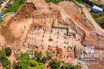 April 2021 Construction Update of Anichi Resort & Spa: Aerial View of Block A