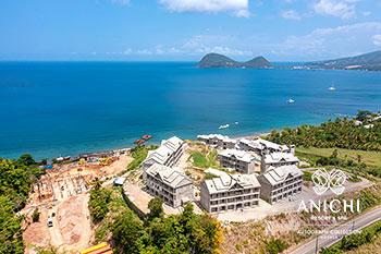April 2021 Construction Update of Anichi Resort & Spa: Aerial View to the North of Dominica