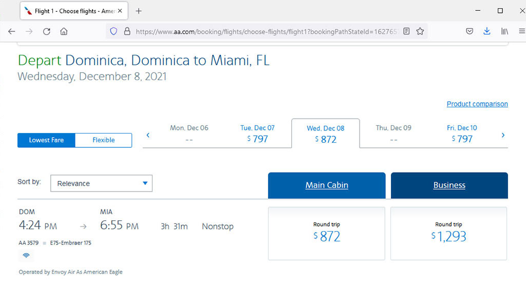 Tickets to Dominica from Miami