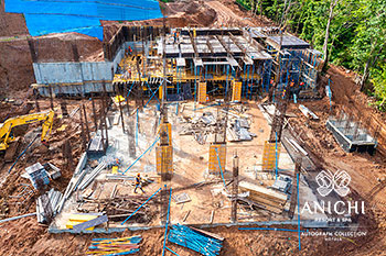 July 2021 Construction Update of Anichi Resort & Spa: Aerial View of Block A