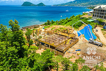 August 2021 Construction Update of Anichi Resort & Spa: Aerial View of Block A